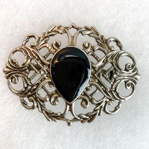 Vintage Obsidian Tear Drop and Silver Brooch | Pin